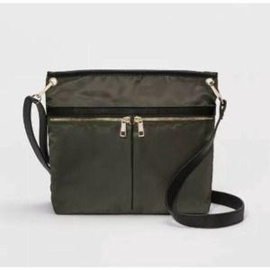 A New Day Olive Nylon Messenger Crossbody Bag